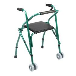 Andador con asiento y ruedas delanteras